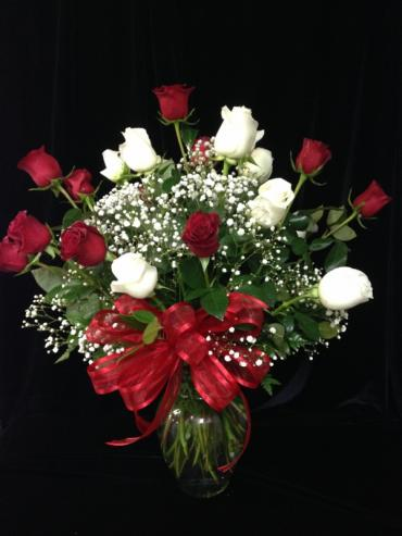 2 Dozen Red and White Roses