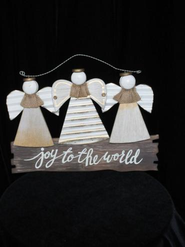 Triple Angel Joy to the World Ornament