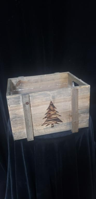 Wooden Christmas Tree Planter Small