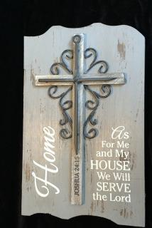 """We will serve the lord\"" shelf plaque"