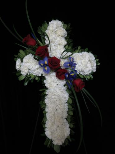 White Cross with Red Rose Accents