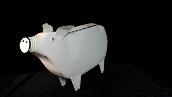 White Enamel Pig Planter