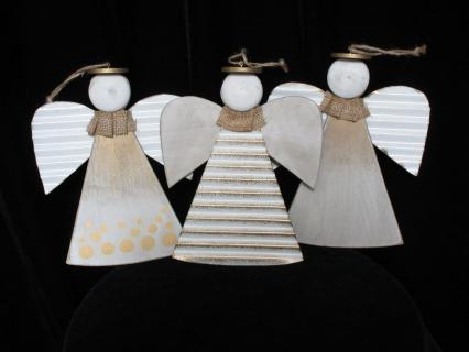Single White and Gold Wooden Angel Assorted