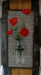 Washboard Shutter with Glass Vase