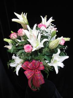 Passionate Embrace Pink Roses and White Oriental Lilies