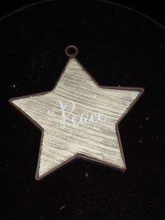 Wooden Star Ornament Various Phrases