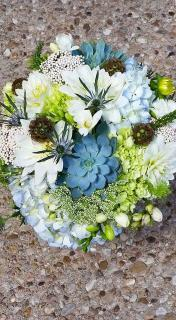 Blue and Green Succulent Bridal Bouquet