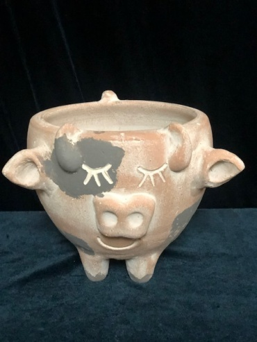 Cow terra cotta pot