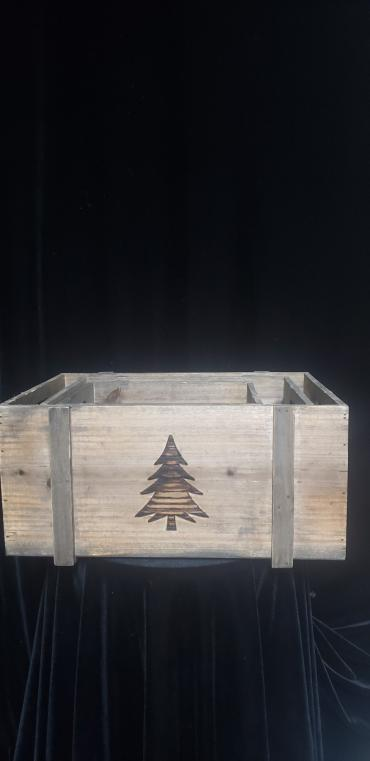 Wooden Christmas Tree Planter Med