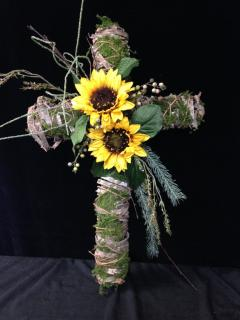 Birch and Bark Cross with Sunflowers
