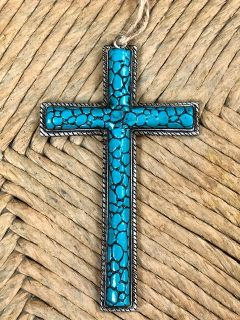 Small Turquoise Cross Ornament