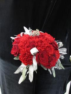 Red and Silver Christmas Bridal Bouquet